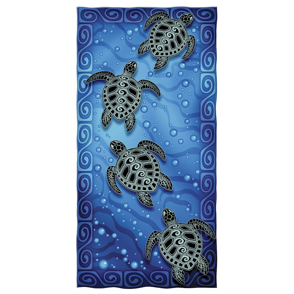 Tribal Sea Turtles Cotton Beach Towel