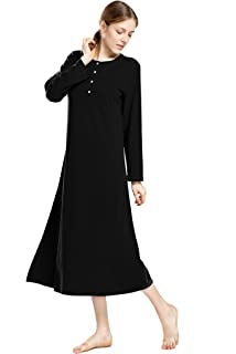 3e4a7a2ccc Lusofie Nightgowns for Women Long Sleeve Sleepshirt Soft Knit Full ...