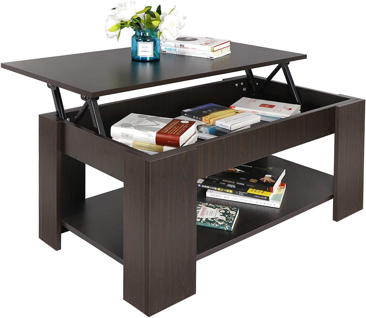 SUPER DEAL Lift Top Coffee Table w/Hidden Compartment and Storage Shelves Pop-Up Storage Cocktail Table (#1)