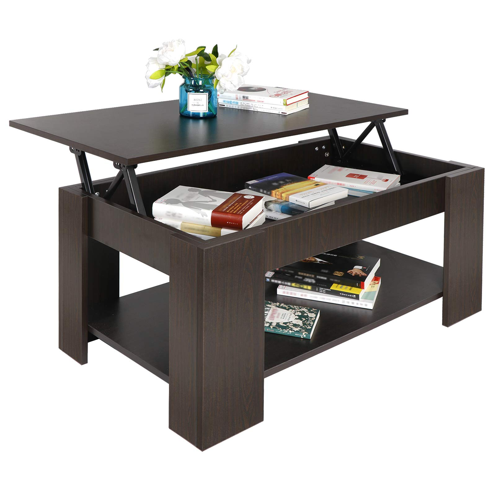 SUPER DEAL Lift Top Coffee Table w/Hidden Compartment and Storage Shelves Pop-Up Storage Cocktail Table (#1) by SUPER DEAL