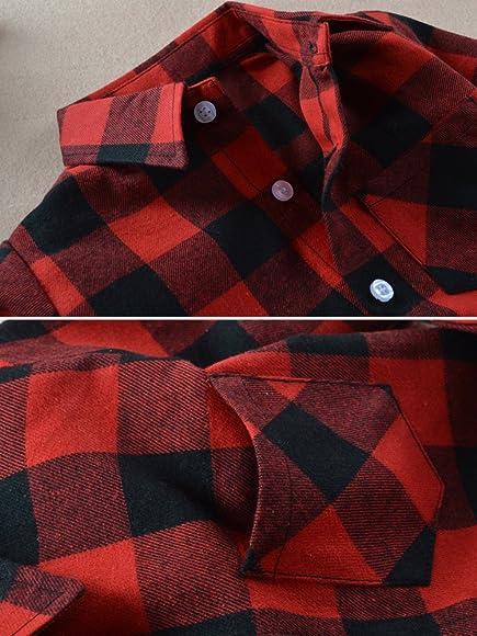 ddf497b05 OCHENTA Little Big Boys' Long Sleeve Button Down Shirt, Kid's Plaid Flannel  Tops
