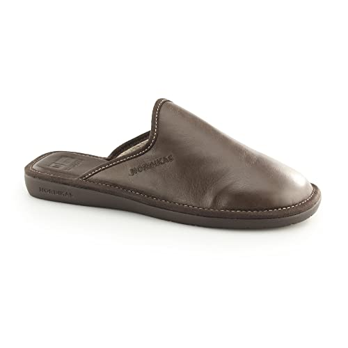 1f430b313b6 Nordikas 131 (Ohio) Mens Leather Mule Slipper Moka 43  Amazon.co.uk ...