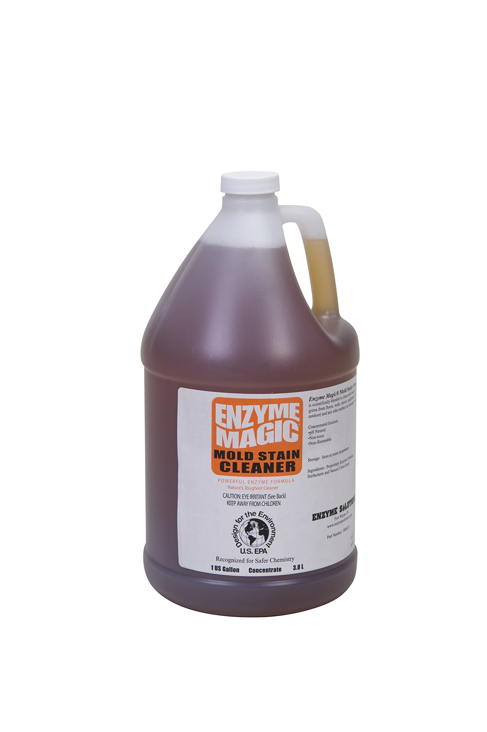 ENZYME MAGIC Mold Stain Cleaner 1 Gal Concentrate (Makes 64-gal) Enzyme Based Mold/Mildew Stain Remover, Best to Clean Grout, Tile, Wall, Bathroom. Non-Toxic Indoor/Outdoor Cleaner (EPA Safer Choice)