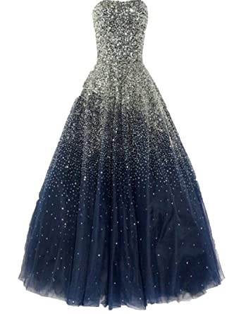 Uryouthstyle Navyblue Sequins Sparkly Evening Gowns Strapless Prom Dresses US20w