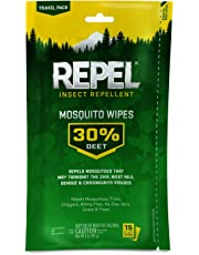 Repel Sportsmen 30-Percent Deet Mosquito Repellent Wipes, 15 Count