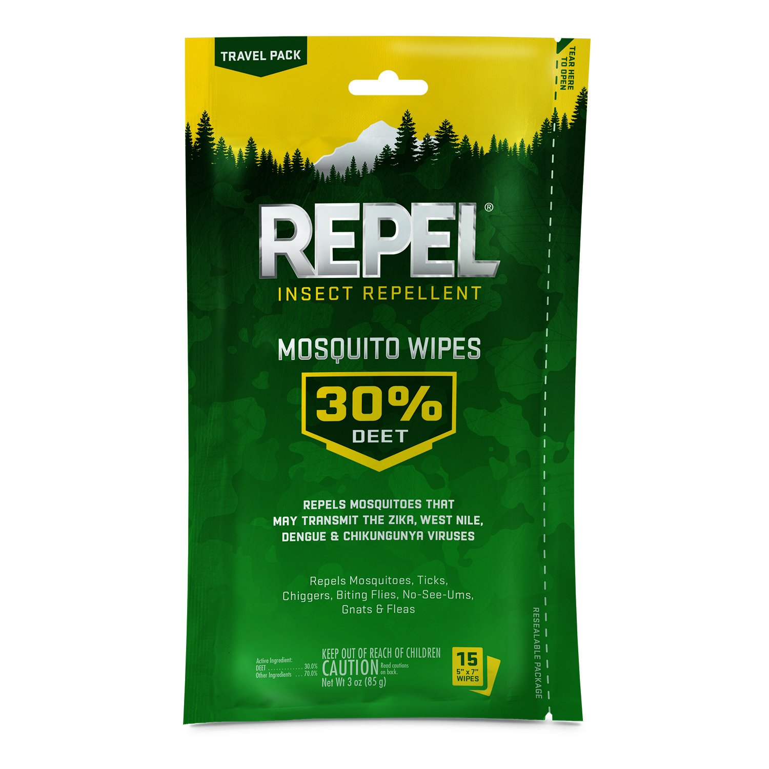 Repel Insect Repellent Mosquito Wipes 30% DEET, 15-Count, 6-Count by Repel
