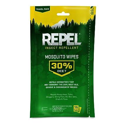 Repel Sportsmen Mosquito Repellent Wipes, 15 Count