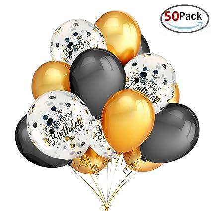 Amazon.com: Globos de confeti para fiesta de cumpleaños, 50 ...