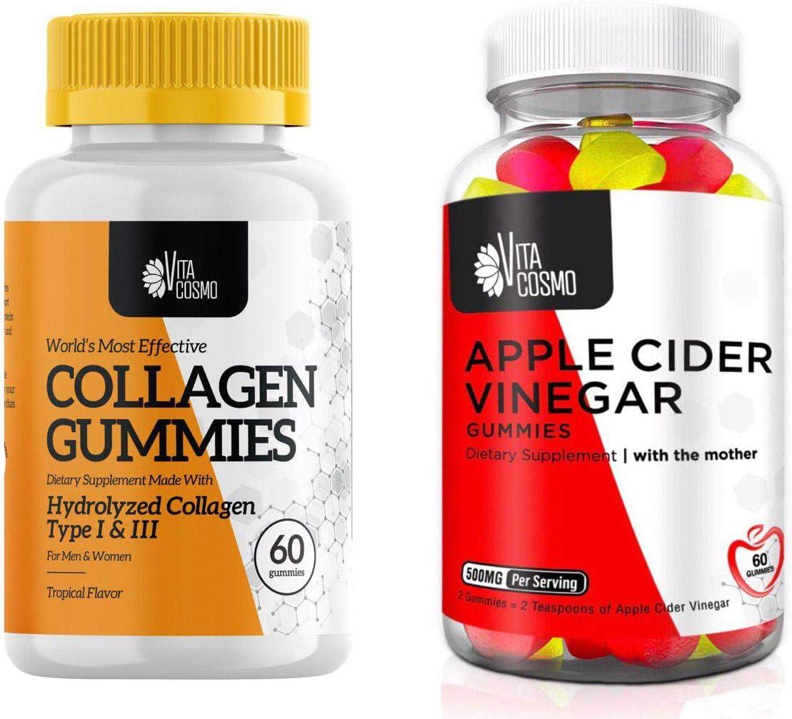 VitaCosmo Bundle 2-in-1 | Collagen and Apple Cider Vinegar Gummies | Gelatin Free, Allergen Free and Non-GMO