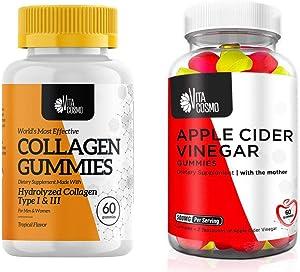 VitaCosmo Bundle 2-in-1   Collagen and Apple Cider Vinegar Gummies   Gelatin Free, Allergen Free and Non-GMO