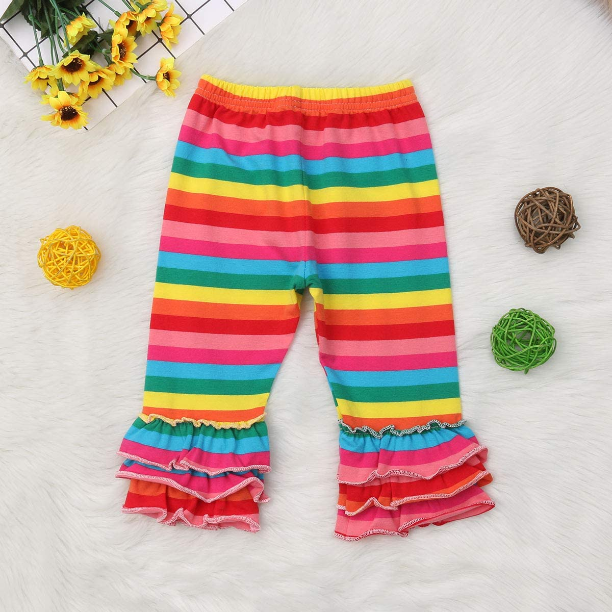 Toddler Baby Girl Pants Rainbow Stripes Mermaid Flare Legging Pants Soft Trousers for Kids Girl
