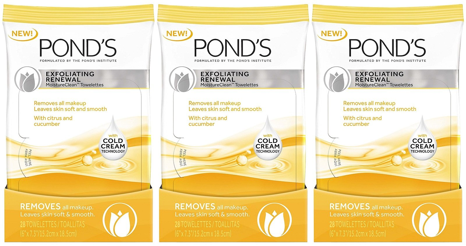 Ponds Towelettes Exfoliating Renewal 28 Count (3 Pack)