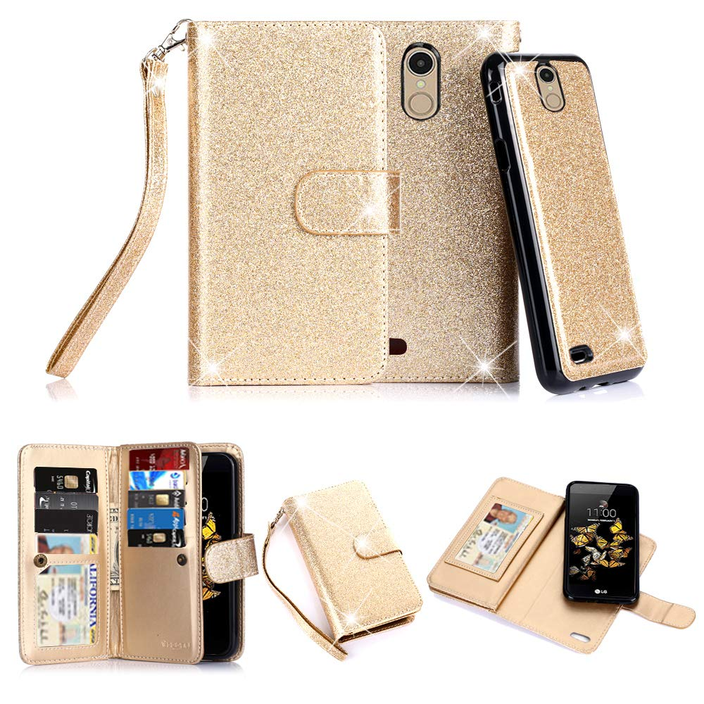 TabPow LG Aristo Case, 10 Card Slot - ID Slot, Button Wallet Folio PU Leather Case Cover with Detachable Magnetic Hard Case for LG Phoenix 3 / LG K8 2017 / LG Fortune/LG Risio 2 - Glitter Gold