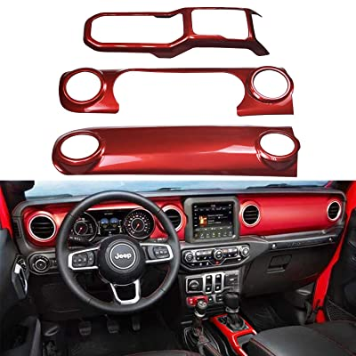 Bolaxin Red ABS Center Console Interior Trim Dashboard Decorative Cover for 2020 2020 Jeep Wrangler JL (Red): Automotive