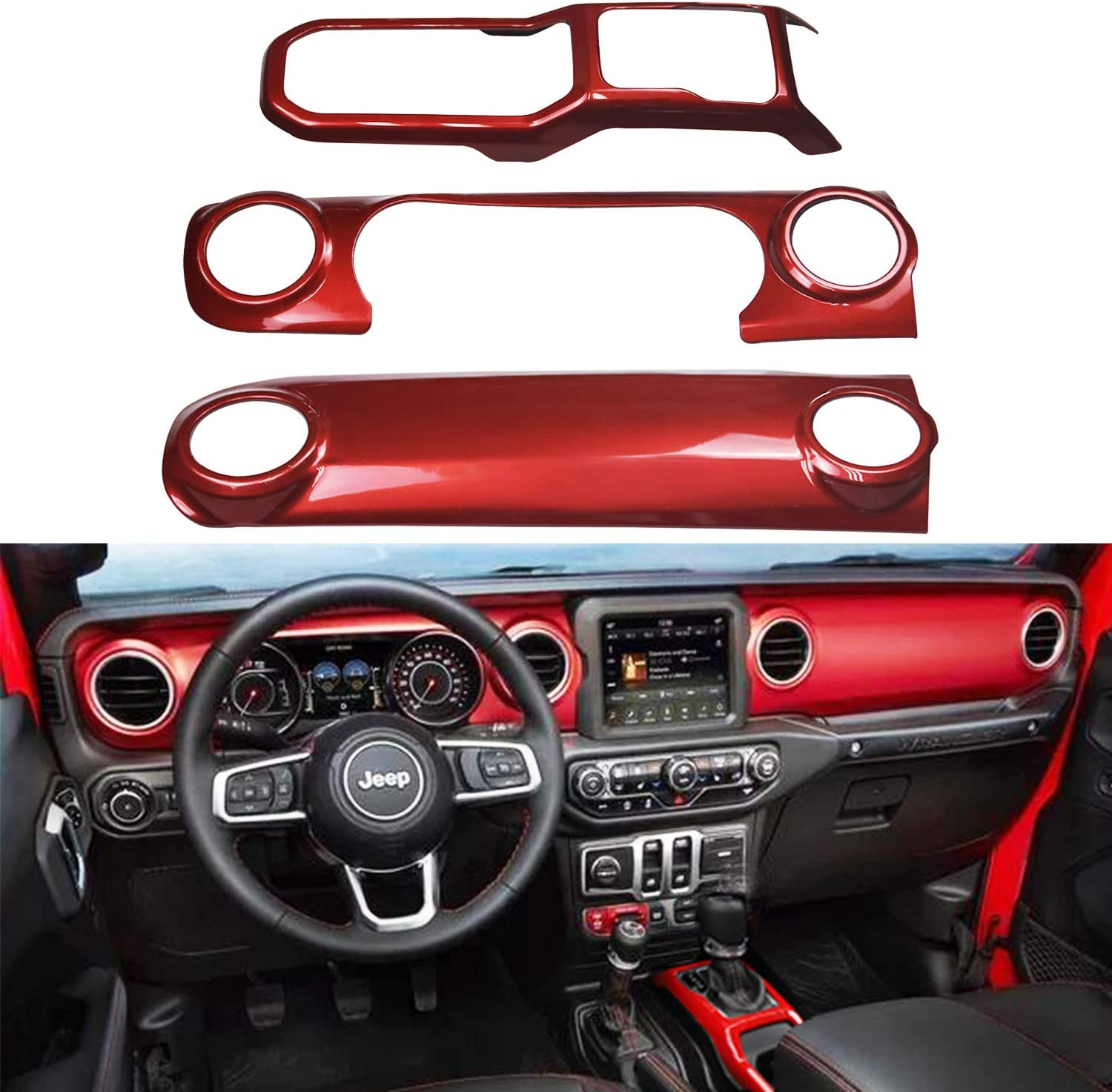 Bolaxin Red ABS Center Console Interior Trim Dashboard Decorative Cover for 2018 2019 Jeep Wrangler JL (Red)