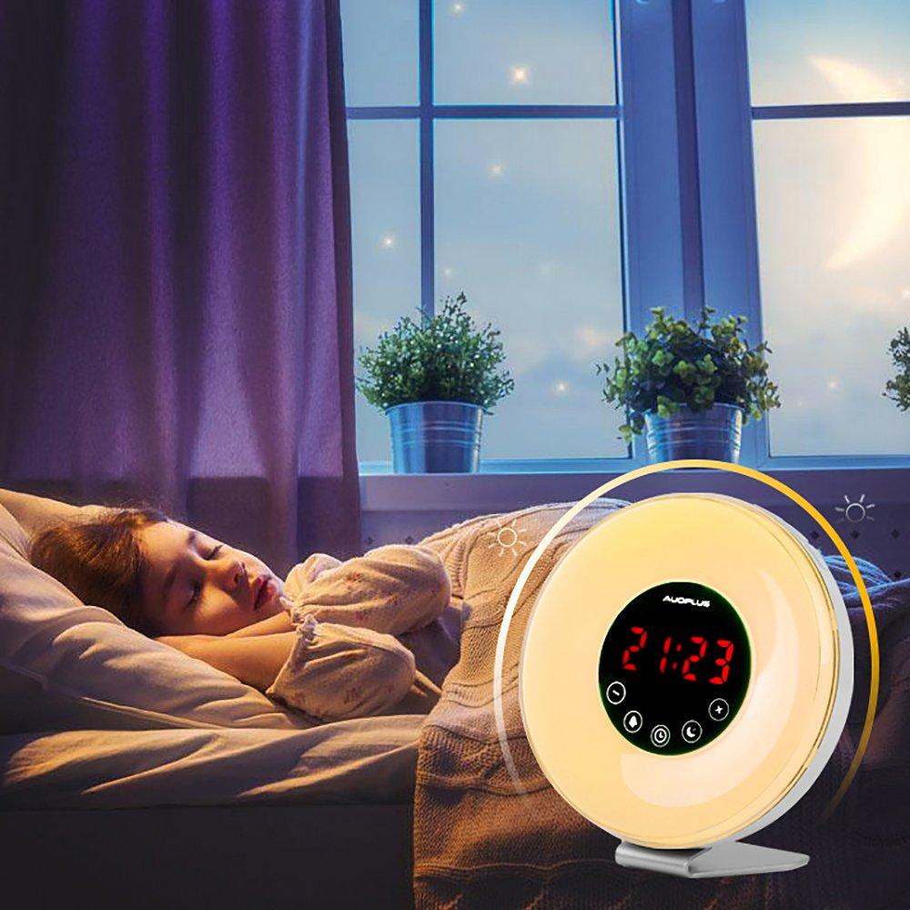 Radiowecker, Wake-up Light, LED Licht, Lichtwecker, Lichtwecker, Lichtwecker, Uhrenradio, Wecker mit Snooze Funktion, Sonnenaufgang, Dämmerung, Nachtlicht mit Natur Sounds, FM Radio, Touch Control 7b4f9b