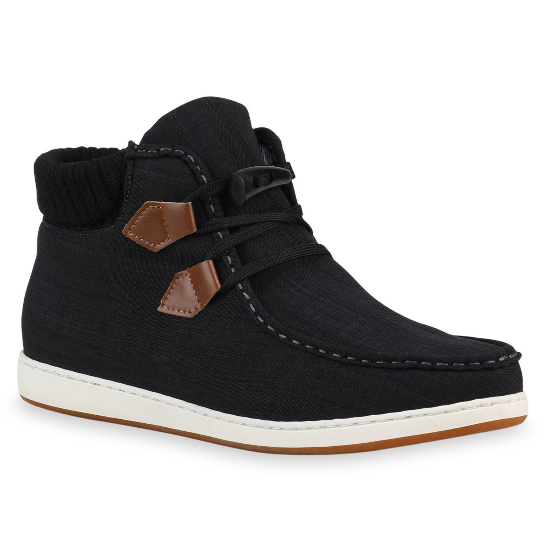 Stiefelparadies Herren Sneaker High Denim Strick Flandell  40 EU|Schwarz