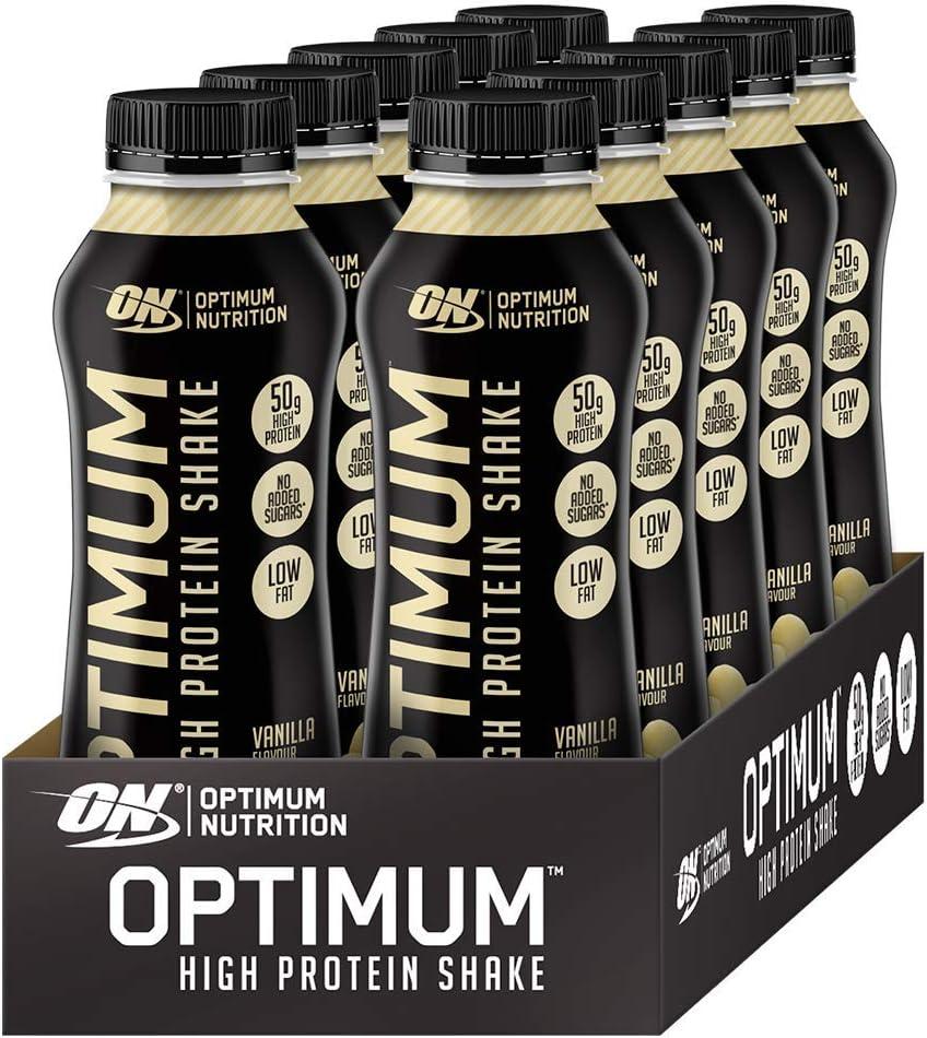 Optimum Nutrition High Protein Shake, Batidos de Proteinas para Aumentar Masa Muscular, Paquete de 10 Batidos, Vainilla, 10x500ml