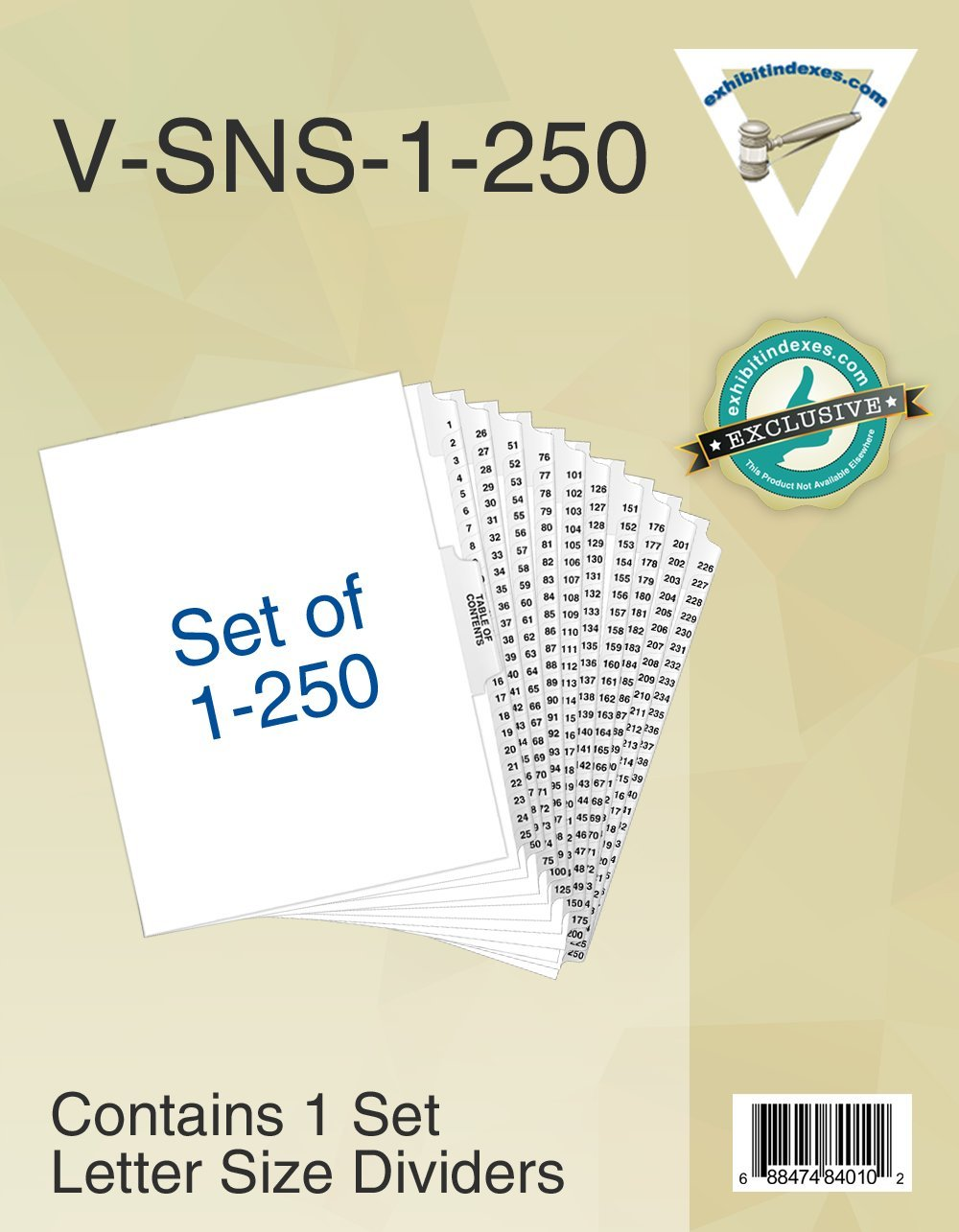 Numbered Dividers 1-250