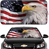 Gven Windshield Shade, Car Sun Shade for Front Windshield Funny American Flag Sunshades Sun Visor Protector Blocks UV…