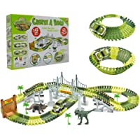Race Track with Dinosaur Bridge142pcs Toy Car Track Playset for Boys & Girls 4 Years Old