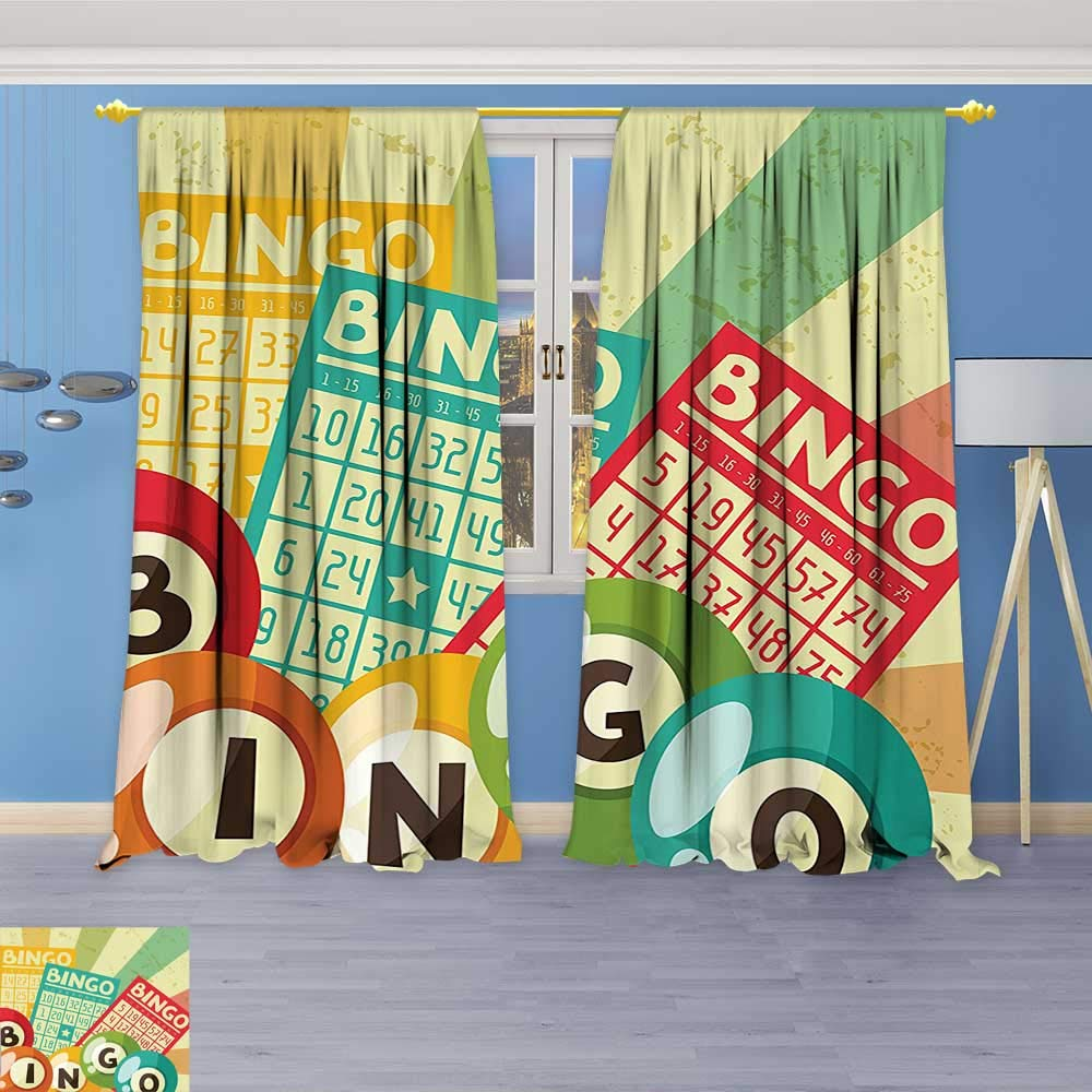 Philiphome 2 Panel Curtains Bingo Game with Ball and Cards Pop Art Stylized Lottery Hobby Celebration Theme Linen Window Curtains Grommet Top