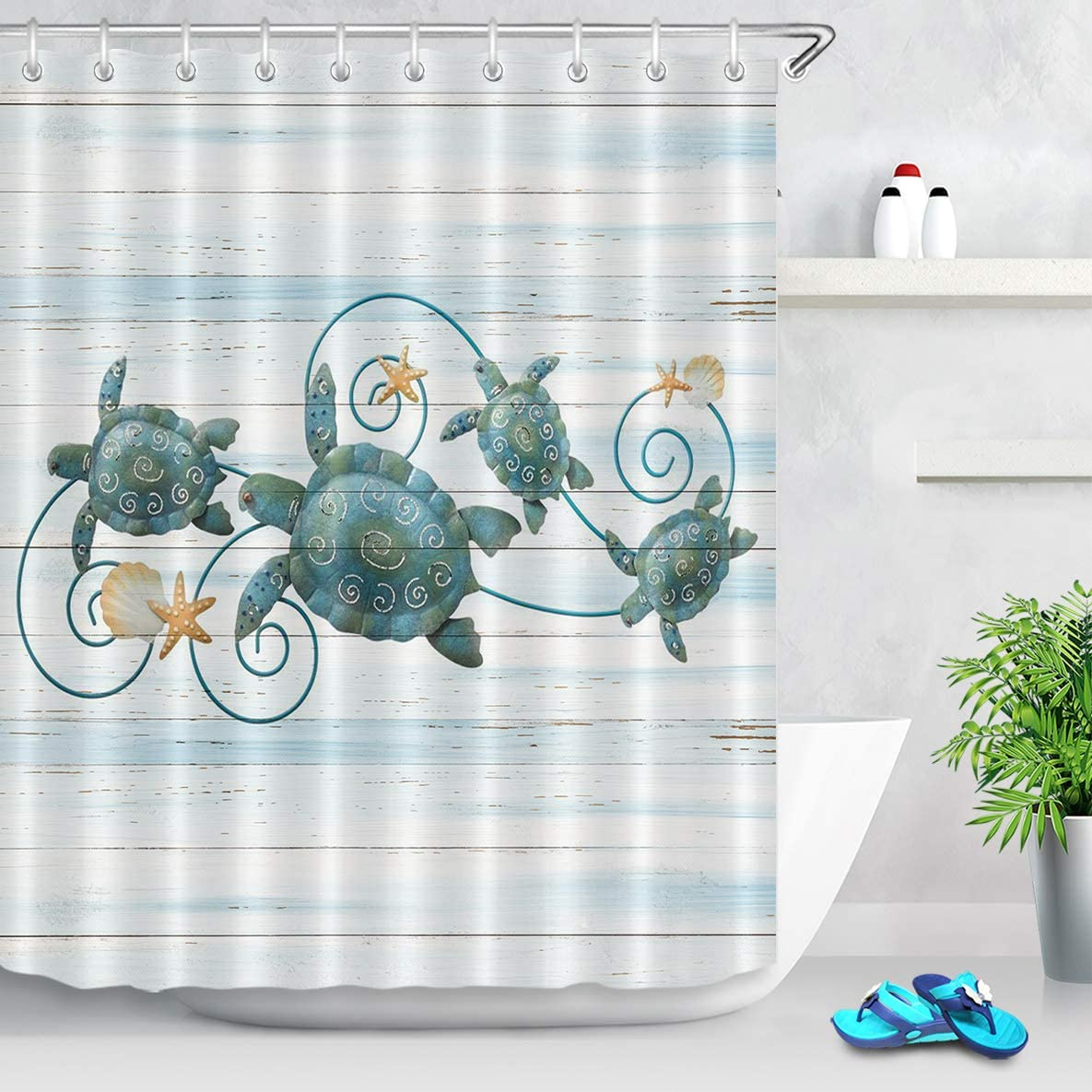 ECOTOB Sea Turtle Shower Curtain Decor, Ocean Sea Turtles and Starfish On Rustic Vintage Wood Panels Shower Curtains 60X72 inch Polyester Fabric Bathroom Decorations Bath Curtains Hooks Included
