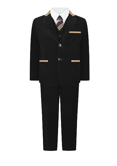16cf835cf Waniwarehouse Boys Black Corduroy 5 Piece Suit Velvet Pageboy Suits Wedding Suit  Blazer Formal: Amazon.co.uk: Clothing