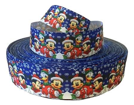Cinta de Mickey y Minnie Mouse en Navidad, de color azul, 1 ...