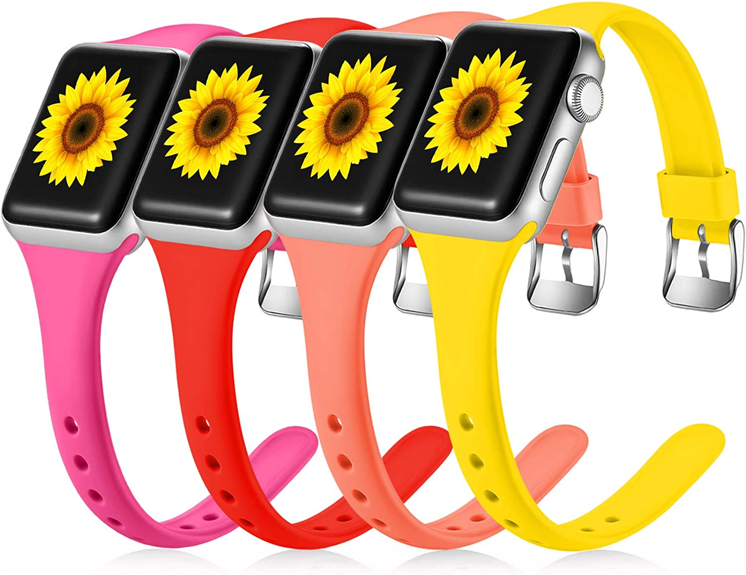 Laffav 4 Pack Sport Bands Compatible with Apple Watch 38mm 40mm for Women Men, Cute Narrow Soft Silicone Slim Thin Small Replacement Wristband Compatible with iWatch SE Series 6 5 4 3 2 1