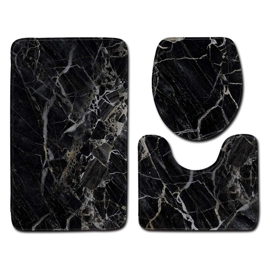 HAOLMA 3 Set Mikrofaser Bad Matte Set Marmor Basis Muster Teppich Bodenmatte Toilettenbezug Rutschfeste Saugf/ähigen Bad Teppich Und Teppich A