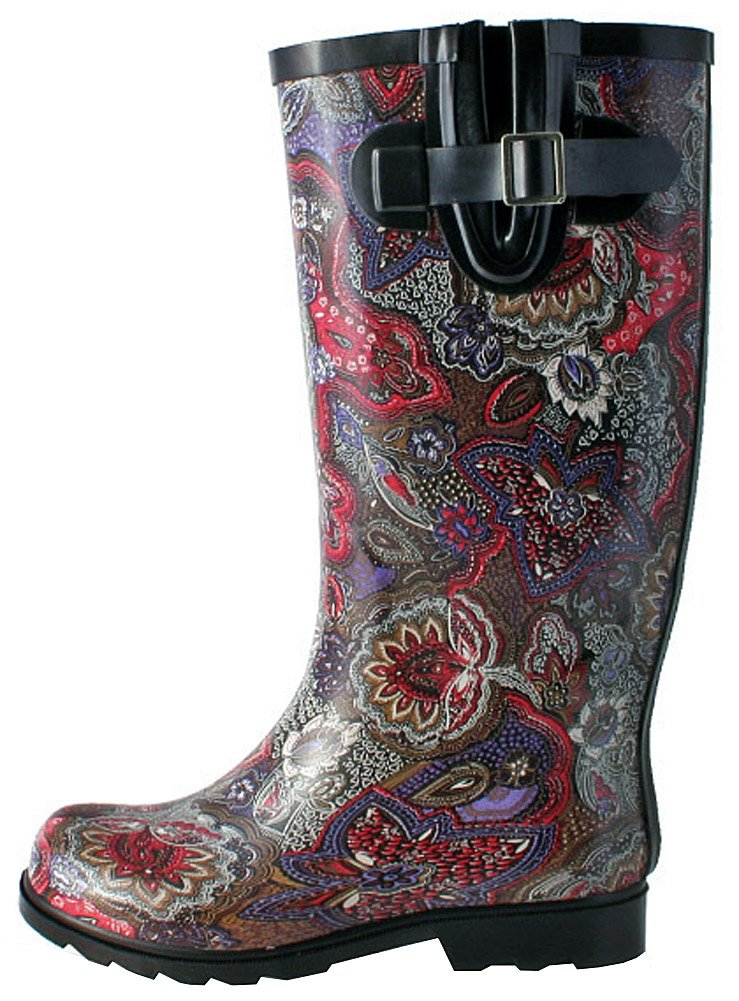 Nomad Women's Puddles Rain Boot B0741C4278 10 B(M) US|Berry Paisley