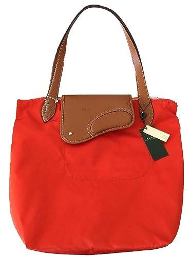 22084be542 Polo RALPH LAUREN VALENCIA ORANGE TAN NYLON Leather TOTE BAG Womens Hand bag  D25 (