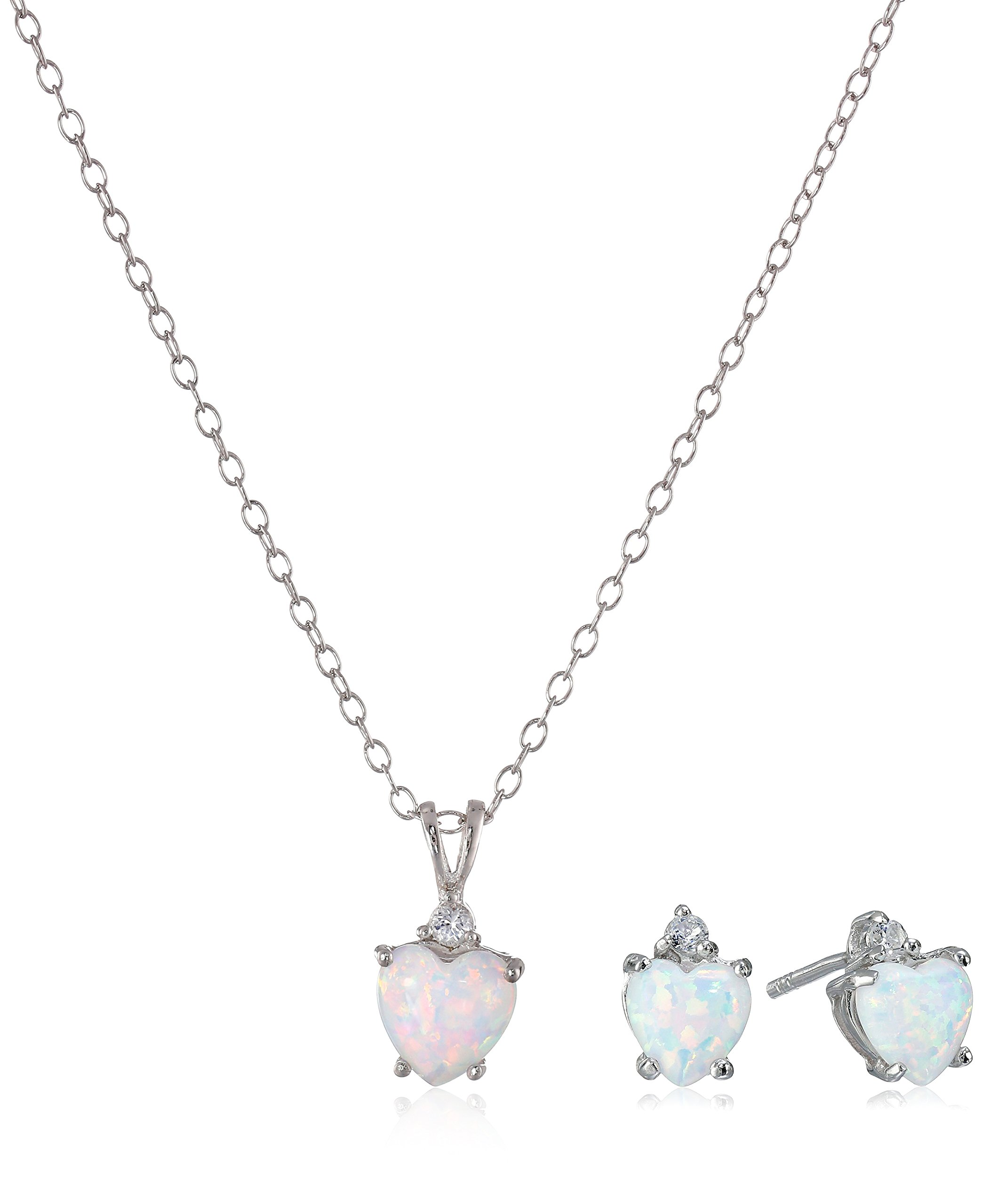 Sterling Silver Stud Earrings and Pendant Necklace with Created Opal Jewelry Set
