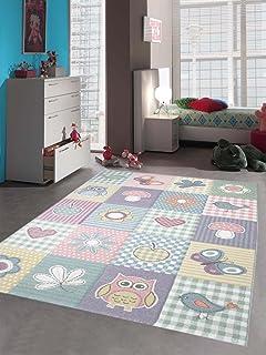 Kinderteppich sterne rund  Kinder Teppich Maui Kids Pastel Bunt Karo Sterne Rund in 2 Größen ...