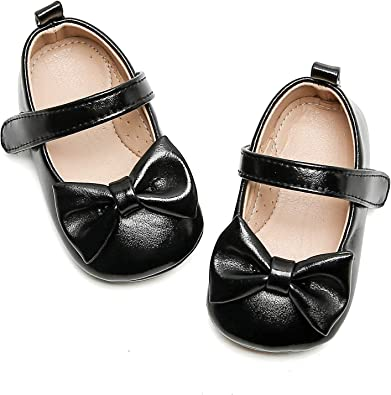 Baby and Toddler Girls Soft Sole Leather Shoes T-Strap Mary Jane for Infant Prewalkers