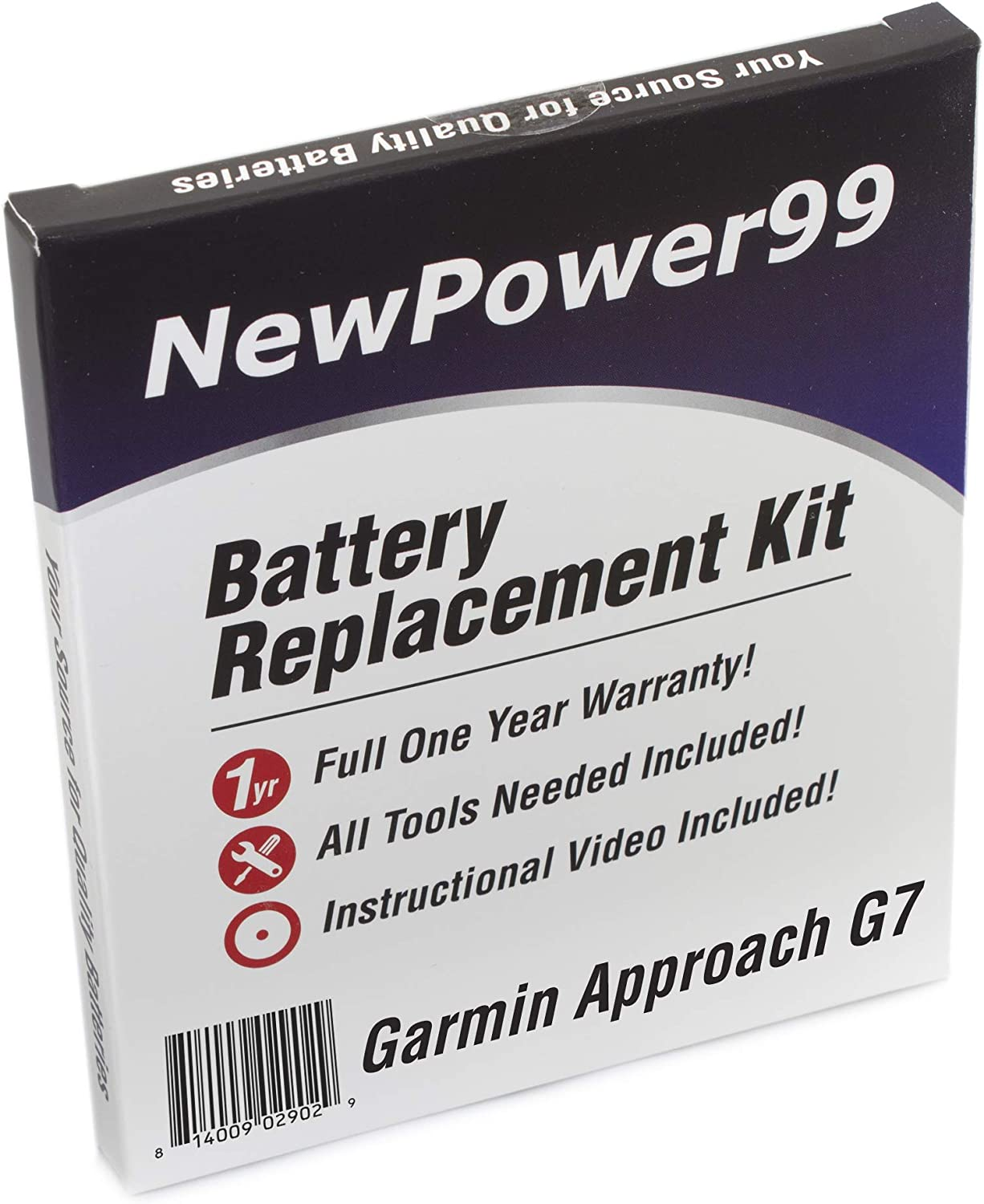 Battery Kit for Garmin Approach G7 with Tools How-to Video and Long Lasting Battery from NewPower99