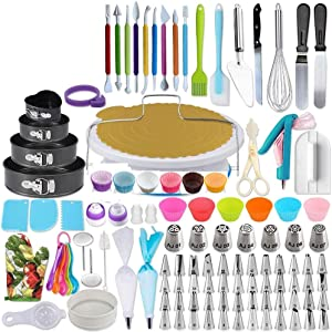 Artensky Cake Decorating Supplies Kit,333 pcs Cake Decorating Set, Cake Decorating Equipment Baking with Nonslip Turntable Stand, Piping Bags, Nozzle, lcing Spatula Whisk Pastry Tool
