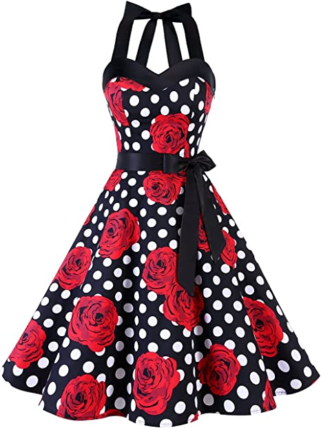 TALLA L. Dresstells® Halter 50s Rockabilly Polka Dots Audrey Dress Retro Cocktail Dress Black Red Rose Dot L