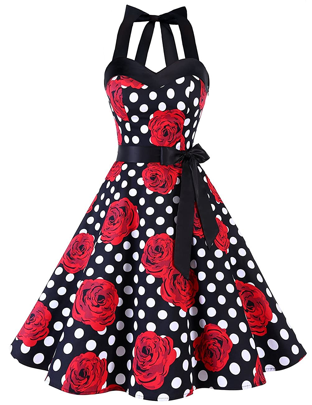TALLA S. DRESSTELLS® Halter 50s Rockabilly Polka Dots Audrey Dress Retro Cocktail Dress Black Red Rose Dot