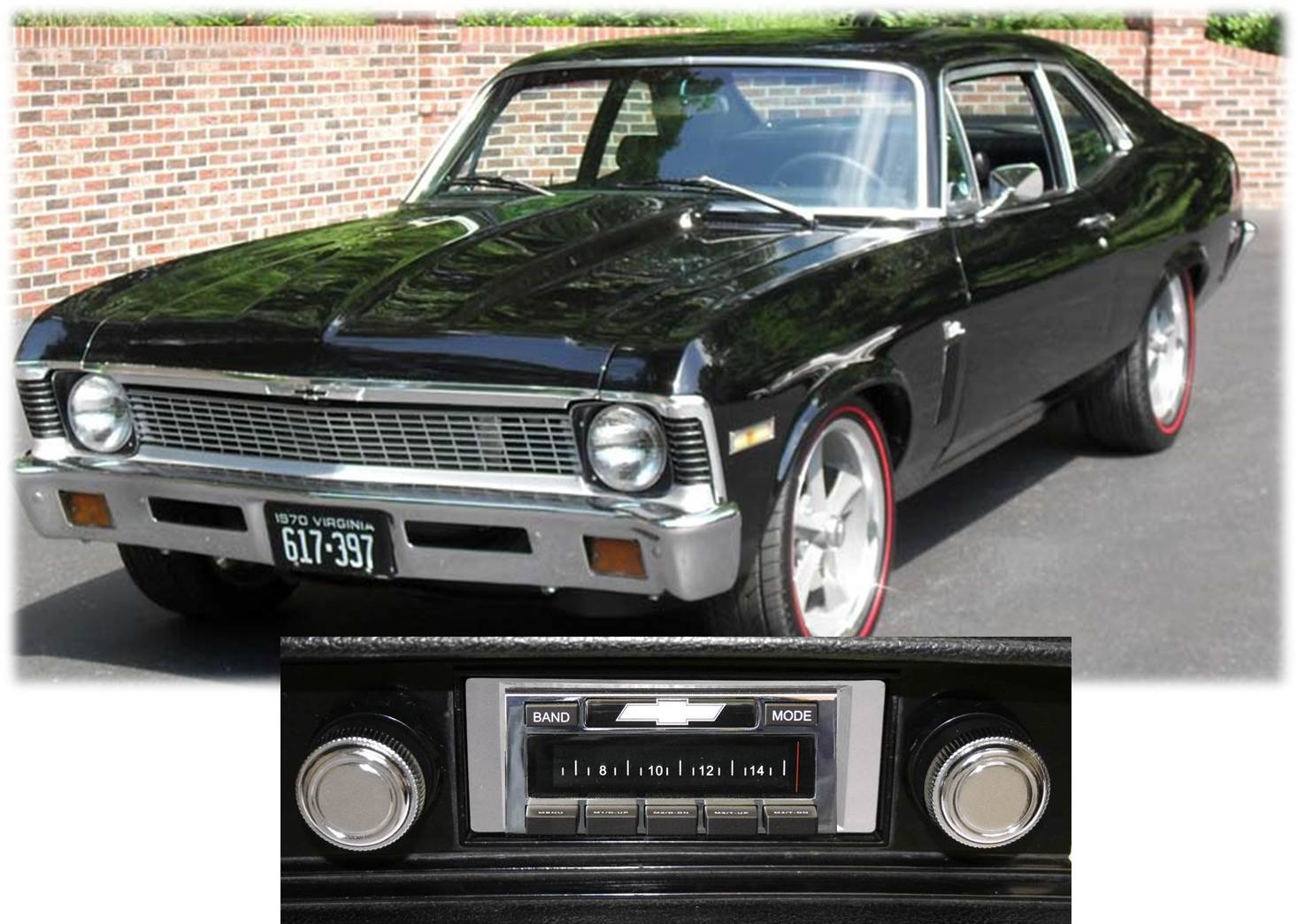 1968-1976 Chevy Nova USA-630 II High Power 300 watt AM FM Car Stereo/Radio with iPod Docking Cable by Custom Autosound B00VF0AOQO