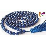 Kriwin 108 +1 Beads/Mankas Agate Hakik Mala for Shani Japa Mantras (Blue)