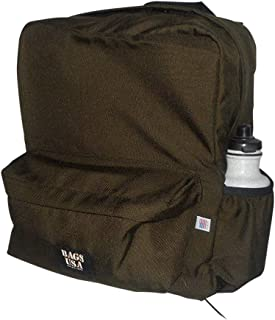 product image for backpack H2O single with two side pockets, one front pocket Made in USA. (Brown)