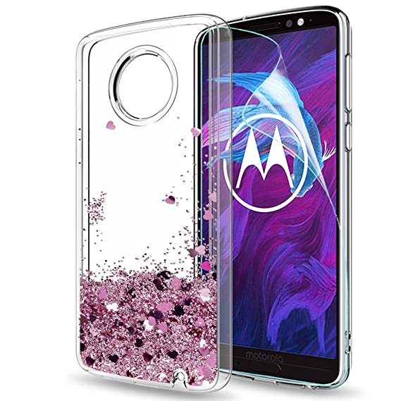 brand new 7500f 3eb72 Moto G6 Plus Case (Not Fit Moto G6) with HD Screen Protector for Girls  Women, LeYi Glitter Shiny Bling Moving Liquid Quicksand Clear TPU  Protective ...