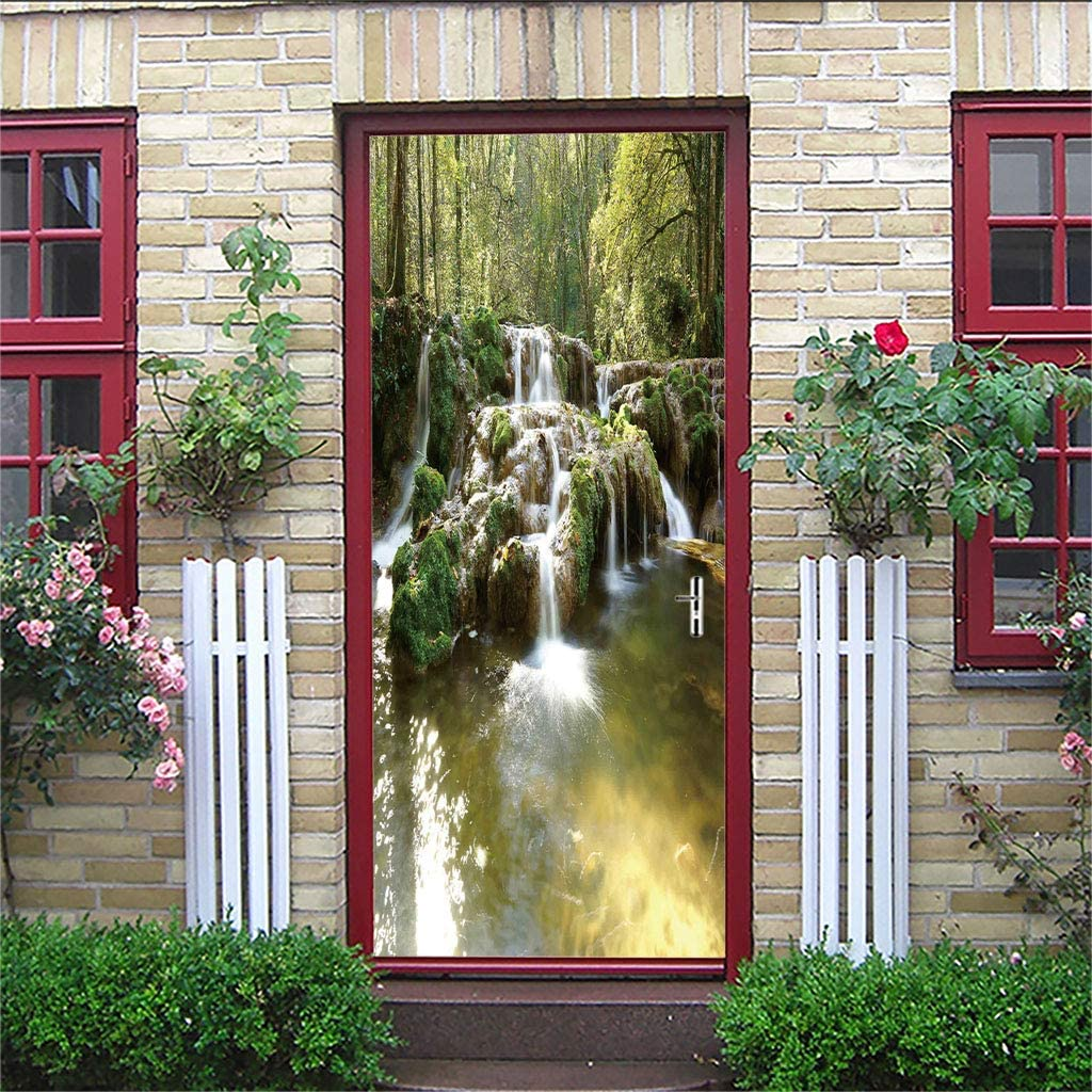 FREEZG Creative 3D Ventilador estereoscópico Forest Quiet Beautiful Waterfall Door Paste Home Personalidad Decorativo Wall Paste from The Adhesive Waterproof 77 X 200cm
