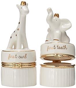 Mud Pie Giraffe & Elephant Ceramic Tooth and Curl Set, White/Gold