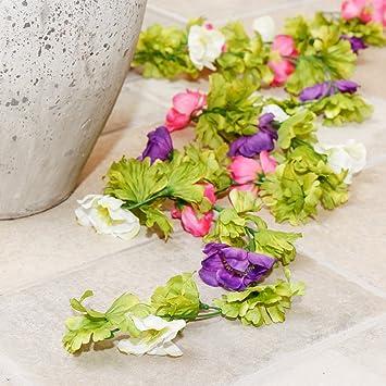 Amazon.de: Deluxe künstlichen Blumen Girlande mit Pink, Weiß und ...