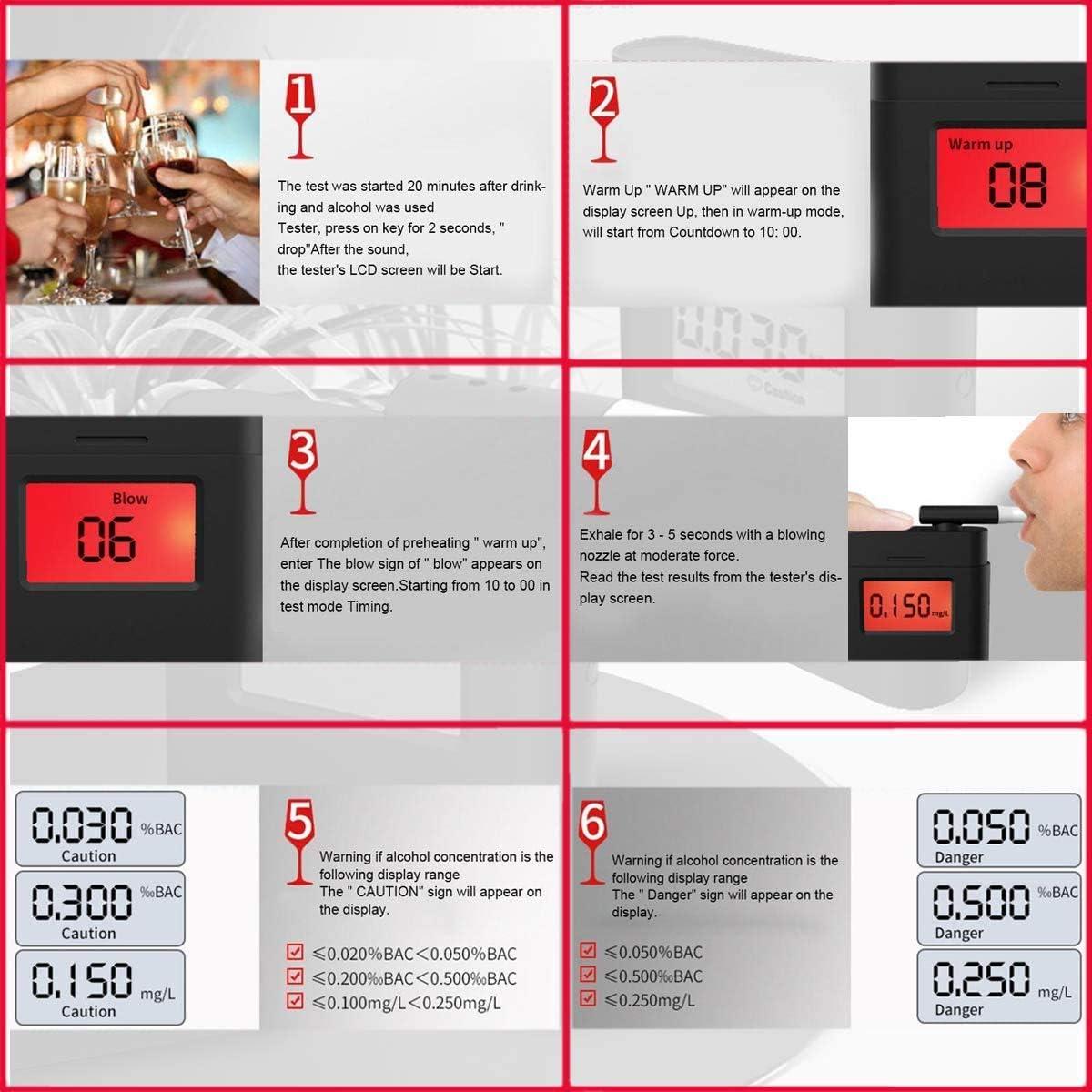 Micoo Professioneller Alkoholtester Tragbar Halbleiter Sensorik Digitaler Atemalkohol LCD Anzeige Promille-Tester Polizeigenau Schwarz
