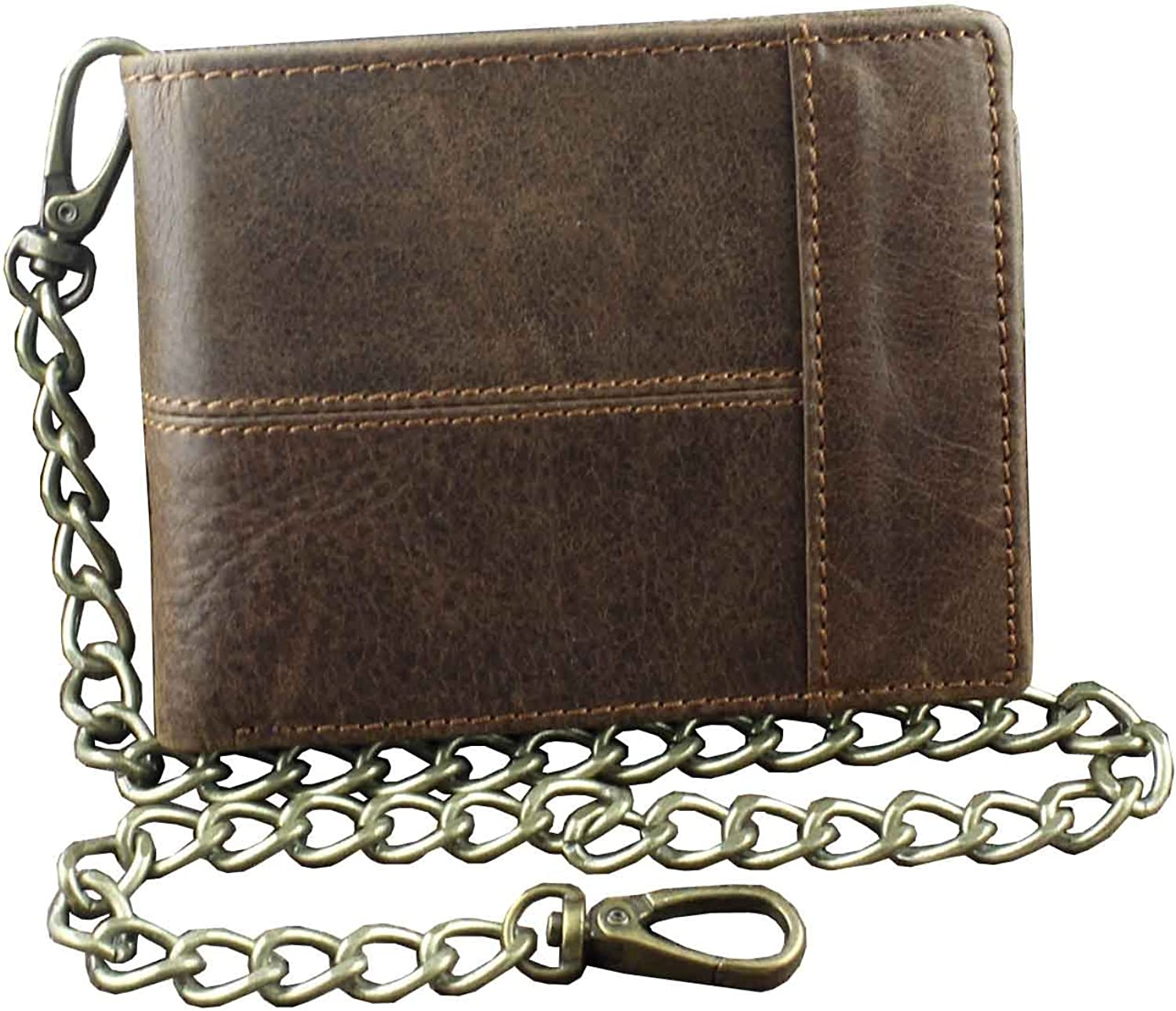 New Vintage Brown Leather Wallet With Chain Mens Bifold/Many Card Holder
