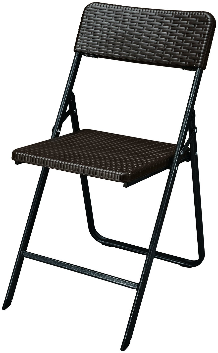 BrackenStyle Brown Folding Chair - Textured Plastic on Powder Coated Steel Frame - Ideal parties, events, patios - Outdoor Indoor Use